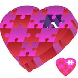 3D Puzzle Heart. 3D image of a heart in puzzle pieces with one missing stock illustration