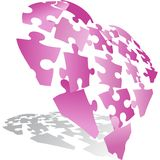 3D Puzzle Heart. 3D image of a heart in puzzle pieces stock illustration