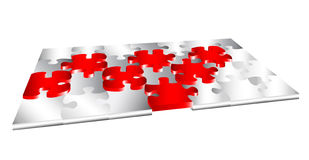 3d puzzle with outstanding pieces Stock Images