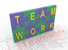 3d puzzle peaces with text 'teamwork' Stock Photo
