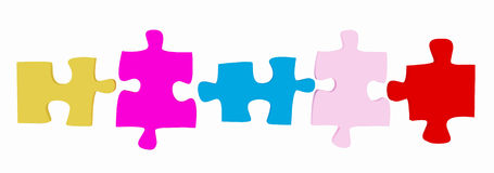 3D Puzzle Pieces. Isolated on white Royalty Free Stock Photography
