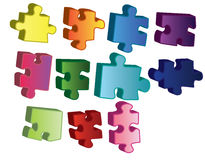 3D Puzzle Pieces Stock Photos
