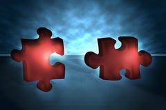 3D puzzle pieces. Two 3D puzzle pieces going to interlock Vector Illustration
