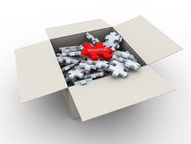 3d puzzle pieces box. 3d render of puzzle pieces box with unique red solution piece on top Royalty Free Stock Photos