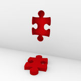 3d puzzle red wall Stock Images