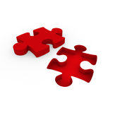 3d puzzle red white. Success connection piece business Royalty Free Stock Images
