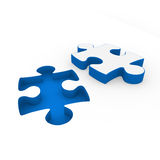 3d puzzle red white. 3d puzzle blue white success connection piece business Royalty Free Stock Image