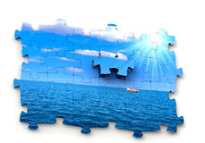 3d puzzle. Sun, sky and ocean Stock Image