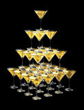 3D pyramid of champagne glasses. Isolated on black background. three dimensional illustration Royalty Free Stock Images