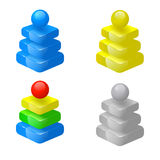 3d pyramids. Set of four colored 3d pyramids with shere on top Stock Photos