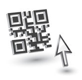 3D QR Code. With mouse arrow, vector stock illustration
