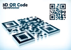 3d qr code in  format. Mirrored in white background Royalty Free Stock Image