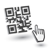 3D QR Code with hand arrow. Vector Royalty Free Stock Image