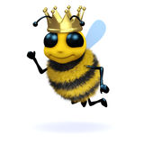 3d Queen Bee. 3d render of a bee wearing a gold crown Royalty Free Stock Photo
