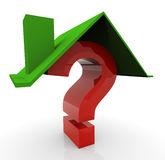 3d question home. 3d render of house and question mark Royalty Free Stock Image