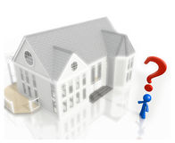 3d Question Mark and Blue Man House Purchase Stock Photo