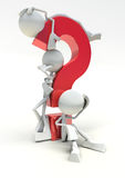 3D question mark with characters royalty free stock photos