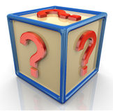 3d question mark cube Royalty Free Stock Photos