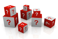 3d question mark cubes. 3d render of question mark cubes Stock Image