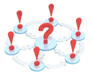 3d question mark among exclamation marks Stock Photo