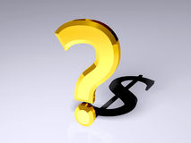 3D question mark with shadow of dollar sign. 3D rendered image of a question with its shadow being a dollar symbol Royalty Free Stock Photos