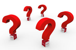 3d question marks words Stock Photo