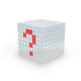 3D - Questionmark cube. Cube with question mark made in 3D software, on white background Royalty Free Stock Photos