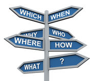 3d questions direction sign. 3d road sign of various questions Stock Photos
