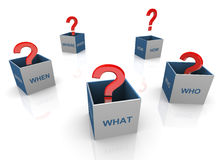 3d questions words boxes Royalty Free Stock Photo