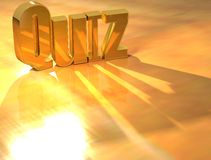 3D Quiz Gold text. Over yellow background Royalty Free Stock Images