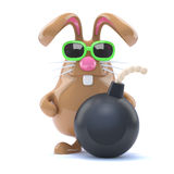 3d Rabbit with a bomb Stock Image