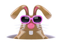 3d Rabbit down a hole Royalty Free Stock Image