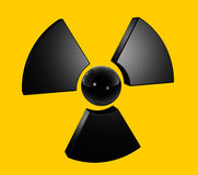 3D radioactive symbol. Isolated on yellow Stock Photos