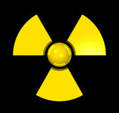 3D radioactive symbol. Isolated on black Royalty Free Stock Photo