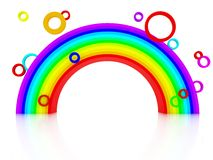 3d rainbow with circles. Isolated on white stock illustration