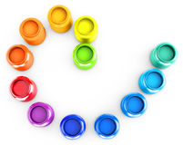 3d rainbow color circle of jars Royalty Free Stock Image