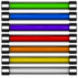 3d rainbow colored download button bar. 3d render of rainbow colored download button bar Royalty Free Stock Photo