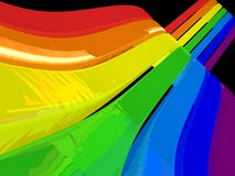 3D rainbow stripes. 3D perspective stripes in rainbow colours Stock Photos