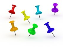 3d Rainbow Thumbtack Stock Photography