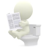3D Reading newspaper in the toilet Royalty Free Stock Photos