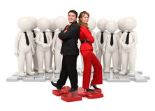 3d and real people business team on puzzle stock photo