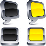 3d realistic buttons. Metallic 3d vibrant realistic icons Stock Images