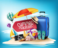 3D Realistic Summer Vacation Poster Design For Travel Stock Photo