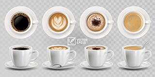 Free 3d Realistic Vector Isolated White Cups Of Coffee With Spoon, Top And Side View, Cappuccino, Americano, Espresso, Mocha, Latte, Royalty Free Stock Images - 175278439