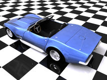 3D Rear sports car on showroom. 3D Blue sports car on checkered showroom background Stock Image