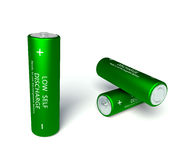 3d  rechargeable AA batteries. 3d green rechargeable AA batteries Royalty Free Stock Photo