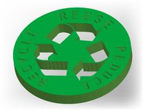 3D Recycle Icon. A three dimensional recycling logo with shadow Stock Image