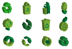 3D recycle icon set Stock Photo
