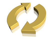 3D Recycle Recycling Symbol. 3D gold recycling recycle symbol Royalty Free Stock Photography