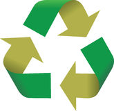 3D Recycling Symbol. A 3D illustration of a recycling symbol, isolated on a white background Royalty Free Stock Photo